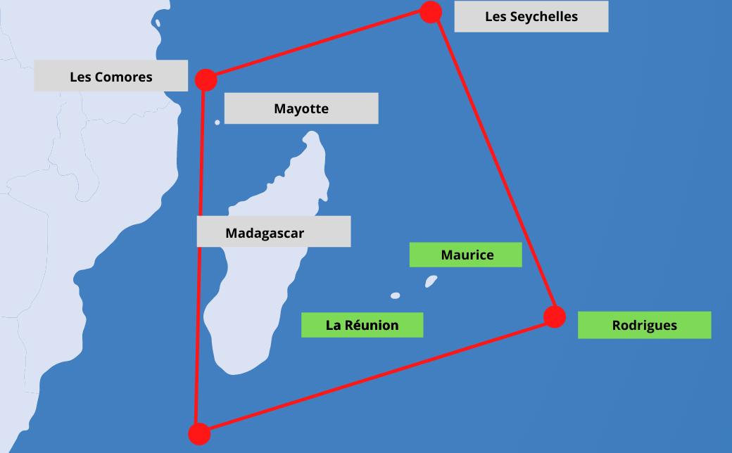 carte trapèze des Mascareignes