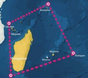 carte trapèze des Mascareignes dans l'océan indien